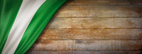 Nigerian flag on vintage wood wall banner