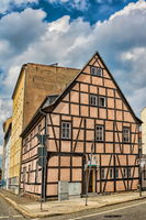 Halle Saale, Germany - 21.06.2019 - historic half-timbered house