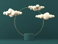 Mock up podium for product presentation golden ring with clouds 3D