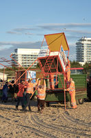 dismantling of a rescue tower on the beach of Swinoujscie in Poland at the end of the bathing season