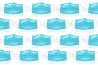 Several Surgical face mask on a white background