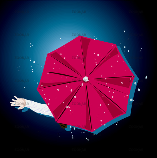 Top view of umbrella with hand held out in rain