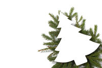 Christmas card and decor on white