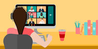 Woman On Video Conference Vector