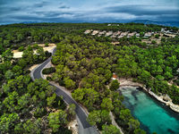 Aerial photography picturesque small village of Banyalbufar. Mallorca, Spain