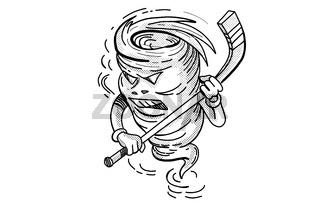 Tornado With Ice Hockey Stock Cartoon