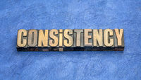 consistency word abstract in vintage wood type