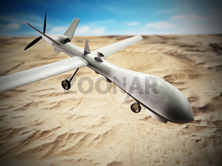 White military unmanned drone at the air. 3D illustration
