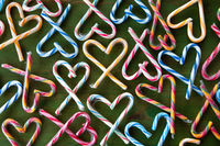 Candy canes in heart shapes