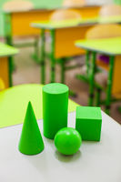 Close up geometric figures on the desk