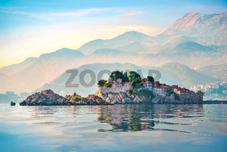 Sveti Stefan and mountains