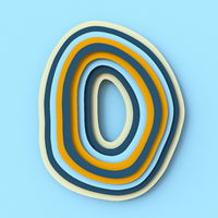 Colorful paper layers font Letter O 3D
