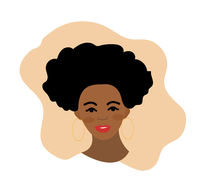 African american woman flat style. Afro girl isolated on a white background. Vector illustration