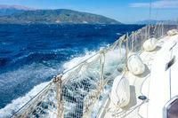 Sailing Yacht and Sea Foam