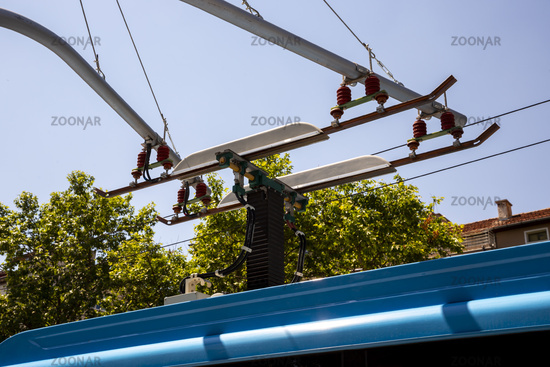 Electric bus electric overhead lines