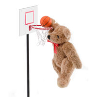 Teddy bear playing basketball dunking the ball