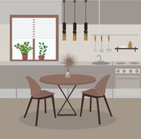 Modern Kitchen interior with window, dining table, kitchen utensils, plants. House Room Flat Vector Illustration
