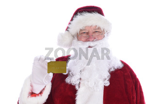 Santa Claus holding his personal Noth Pole Gold Credit Card, isolated on white.