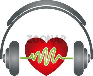 Kopfhörer, Herz, Musik, Sound, Logo