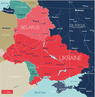 Belarus and Ukraine countries detailed editable map
