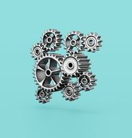 Metallic Gears on Blue Background