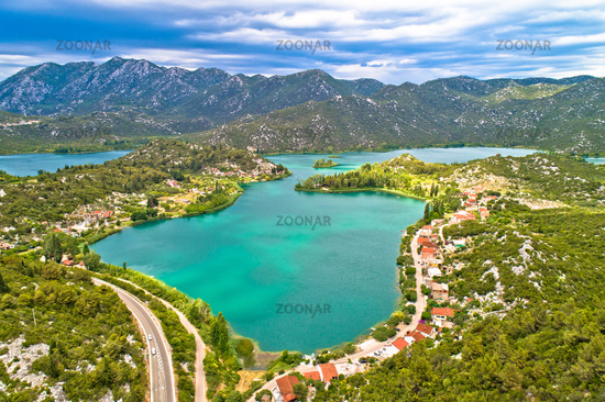 Bacina lakes landscape aerial view