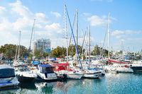 Larnaca marina, motorboats, yachts, Cyprus