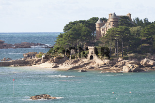 Cote de Granit Rose Island with castle Costaeres
