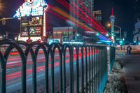 night scenes on the streets of las vegas strip