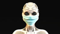 Artistic 3D illustration of a female cyborg with mask