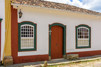 Facade of old house in colonial architecture