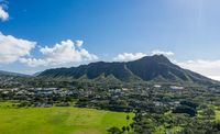 Aerial view of Kapiolani regional park looking towards Diamond Head on Oahu