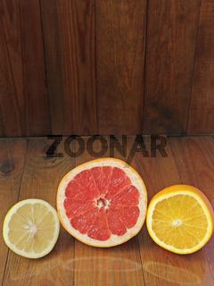 Orange grapefruit lemon divided in half. Healthful concept. Healthy lifestyle