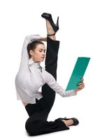 Business woman with office paper pack shot