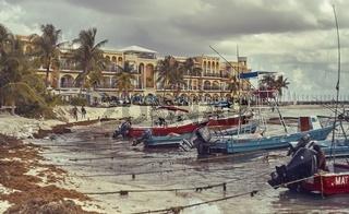Landscape of Playa del Carmen's Beach
