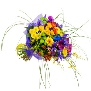 Bouquet from Orchids, Roses and Gerbera Flowers Isolated on White Background.