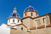 Our Lady of Solace Church with blue tiled domes in Altea, Costa Blanca, Spain