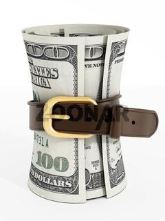 Tight belt around 100 dollar money bills