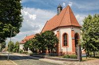 delitzsch, germany - 19.06.2019 - salt street with hospital church