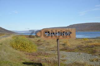 Schild nach Heydalur, Westfjorde, Island