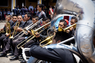 Brass band at the Saint James the Apostle church playing at the event for good Friday in Semana Santa, Easter, Santiago Atitlan, Guatemala