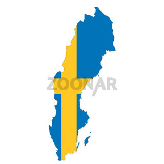 Sweden map on white background with clipping path