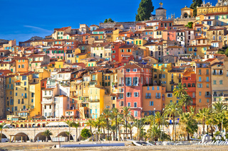 Colorful facades of Cote d Azur town of Menton beach and architecture view