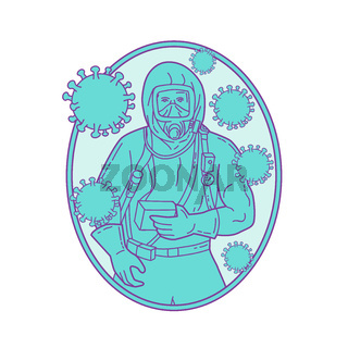 Doctor Wearing Protective Suite With Coronavirus Mono Line