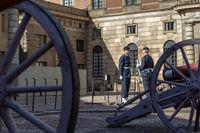 Guardsman guard change near Swedish Royal Palace