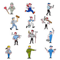 Tradesman Industrial Worker Cartoon Full Body Set Collection