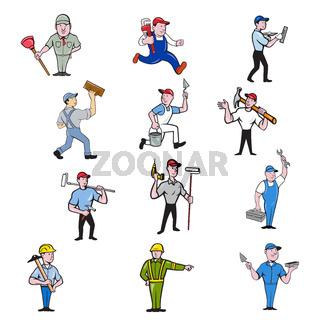 Tradesman Industrial Worker Cartoon Full Body Set Collection