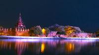 Night River. Mandalay Palace Bastion.