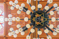 Ceiling in The Great Synagogue is a historical building in Budapest, Hungary