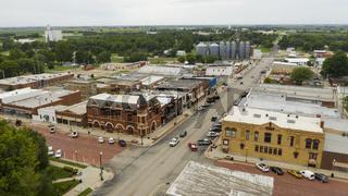 Aerial View Main Street Intersection Small Town Hiawatha Kansas